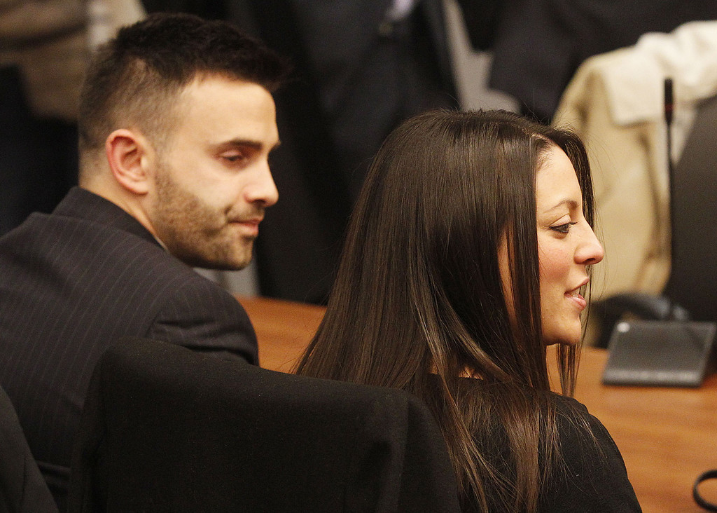 . Meredith Kercher\'s brother Lyle, left, and sister Stephanie wait for the reading of the verdict  for the murder of the  British student in Florence, Italy, Thursday, Jan. 30, 2014. An appeals court in Florence upheld the convictions of  U.S. student Amanda Knox and her ex-boyfriend for the 2007 murder of her British roommate. Knox was sentenced to 28 1/2 years in prison, raising the specter of a long legal battle over her extradition. After nearly 12 hours of deliberation Thursday the court reinstated the guilty verdict first handed down against Knox and Raffaele Sollecito in 2009.  (AP Photo/Fabrizio Giovannozzi)