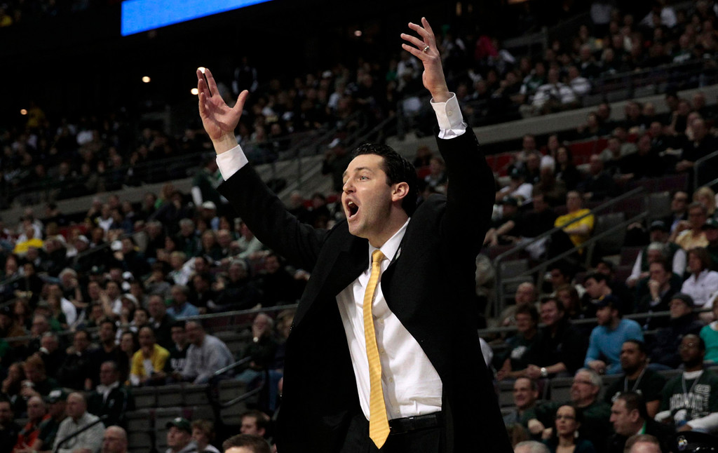 . Valparaiso Crusaders Head Coach Bryce Drew during the first half of their second round NCAA tournament basketball game against the Michigan State Spartans in Auburn Hills, Michigan March 21, 2013. REUTERS/Jeff Kowalsky