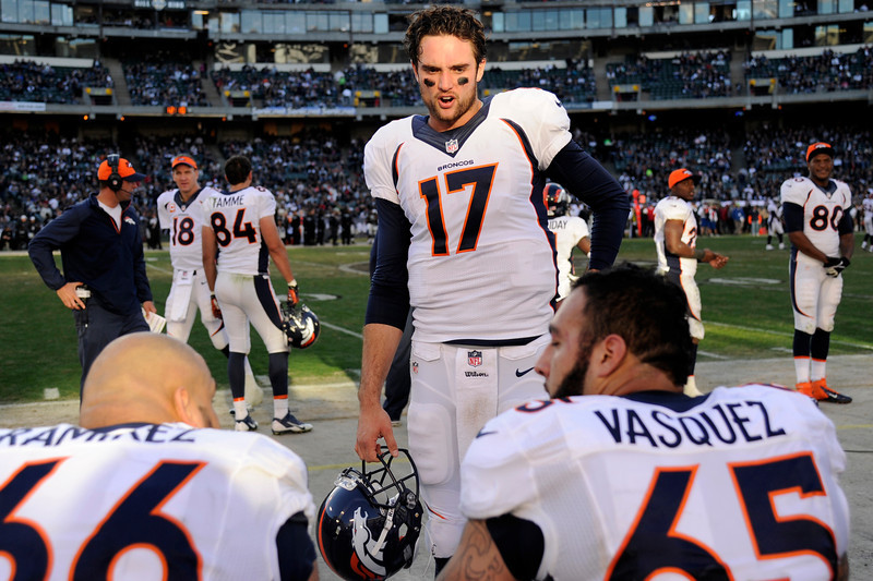 . 10. Brock Osweiler, QB, second round, No. 57 overall, 2012: Considered a surprise in the second round after the Broncos signed Peyton Manning. The team wanted insurance in case Manning\'s neck didn\'t heal, but Osweiler stands a chance of never starting a game with Denver when a linebacker was needed in the 2012 draft.(Photo By Joe Amon/The Denver Post)
