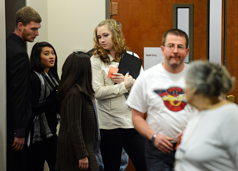 . Family and victims in the Aurora theater shooting arrive for court, Tuesday, January 8, 2013, in Centennial. RJ Sangosti, The Denver Post