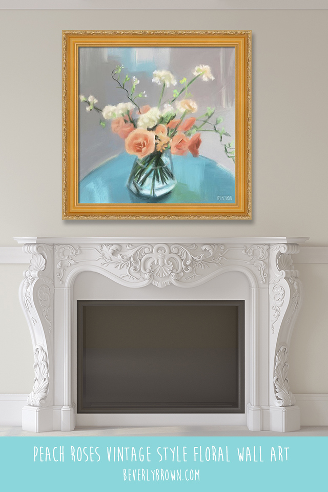 Modern vintage floral wall art over a fireplace mantle by Beverly Brown