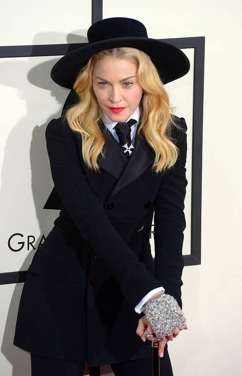 . Madonna arrives at the 56th Annual GRAMMY Awards at Staples Center in Los Angeles, California on Sunday January 26, 2014 (Photo by David Crane / Los Angeles Daily News)