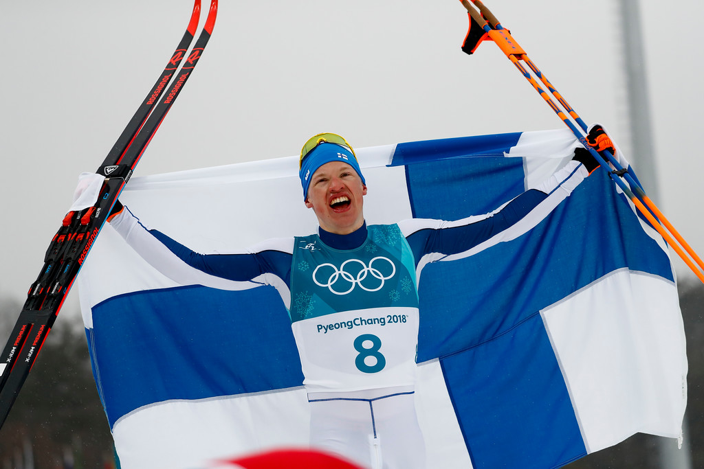 . Iivo Niskanen, of Finland, celebrates after winning the gold medal in the men\'s 50k cross-country skiing competition at the 2018 Winter Olympics in Pyeongchang, South Korea, Saturday, Feb. 24, 2018. (AP Photo/Matthias Schrader)