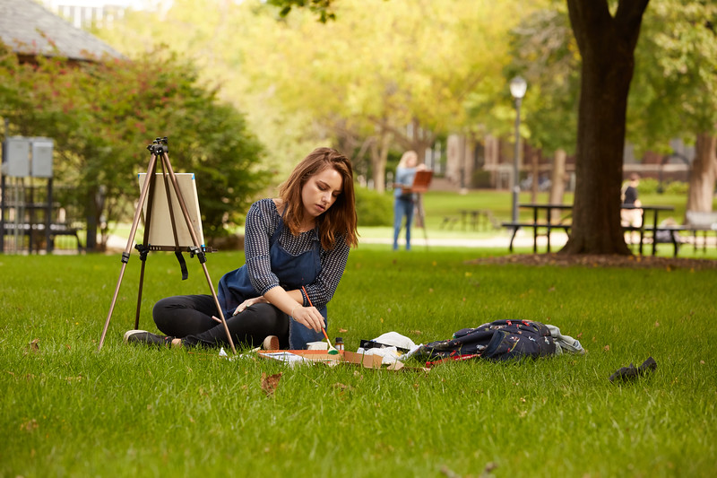 Activity; Art; Location; Outside; People; Woman Women; Student Students; Fall; October; Time/Weather; day; Type of Photography; Candid; Painting Students