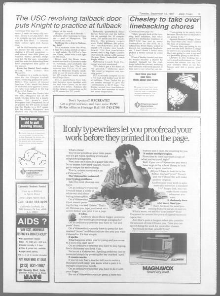 Daily Trojan, Vol. 105, No. 9, September 15, 1987