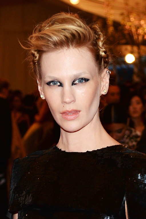 """. Actress January Jones attends the Costume Institute Gala for the \""""PUNK: Chaos to Couture\"""" exhibition at the Metropolitan Museum of Art on May 6, 2013 in New York City.  (Photo by Dimitrios Kambouris/Getty Images)"""