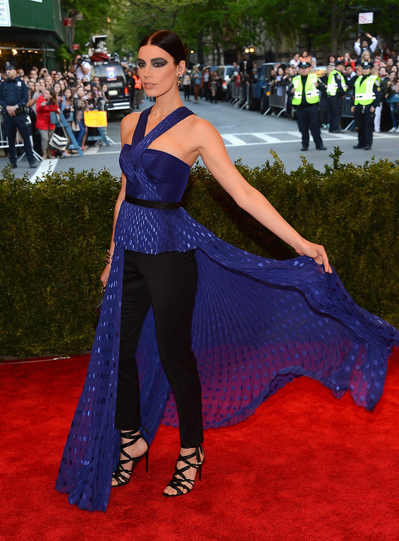 """. Actress Jessica Pare attends the Costume Institute Gala for the \""""PUNK: Chaos to Couture\"""" exhibition at the Metropolitan Museum of Art on May 6, 2013 in New York City.  (Photo by Larry Busacca/Getty Images)"""