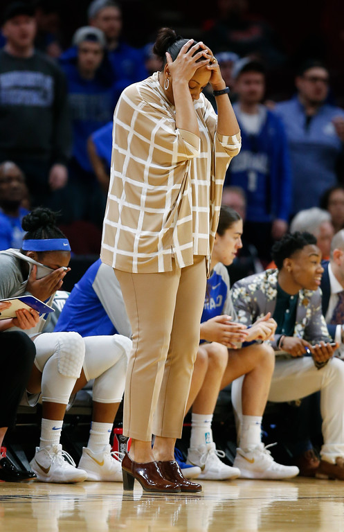 . Buffalo head coach Felisha Legette-Jack reacts to a call during the first half of an NCAA college basketball game against Central Michigan in the championship of the Mid-American Conference tournament Saturday, March 10, 2018, in Cleveland. (AP Photo/Ron Schwane)