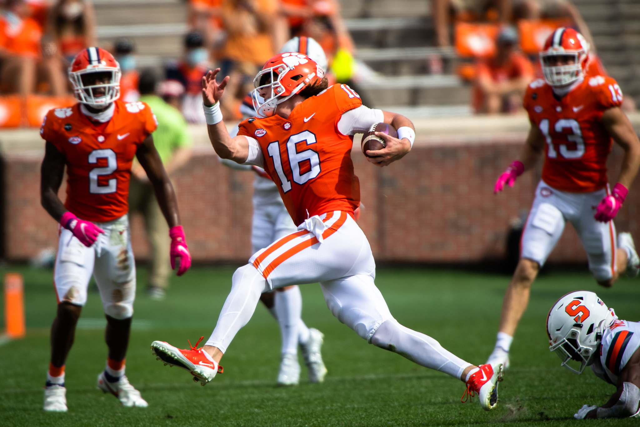 Clemson quarterback Trevor Lawrence(16) runs the ball during their game against Syracuse, Oct 24, 2020; Clemson, South Carolina, USA;  at Memorial Stadium. Mandatory Credit: Ken Ruinard-USA TODAY Sports