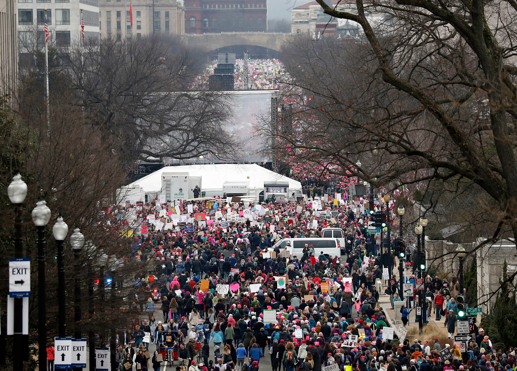 . A crowd fills Independence Avenue during the Women\'s March on Washington, Saturday, Jan. 21, 2017 in Washington. Thousands of women massed in the nation\'s capital and cities around the globe Saturday to send Donald Trump an emphatic message that they won\'t let his agenda go unchallenged over the next four years. (AP Photo/Alex Brandon)