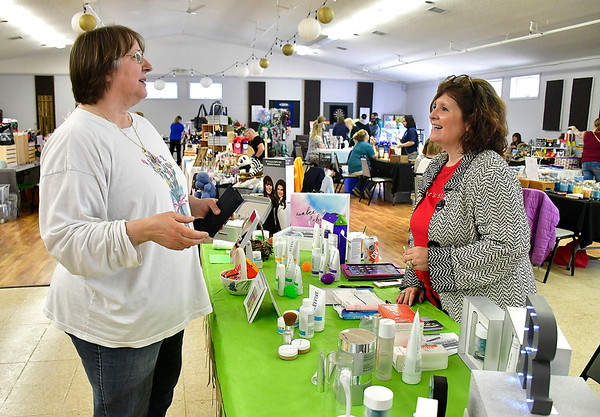 4/13/2019 Mike Orazzi | Staff Tracy Carlson talks with Lisa Knapp during the Bristol Swedish Social Club's Spring Craft & Vendor Show on Saturday at the club in Bristol.