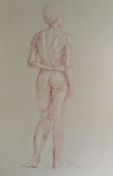 Preoccupied. Red chalk on paper.