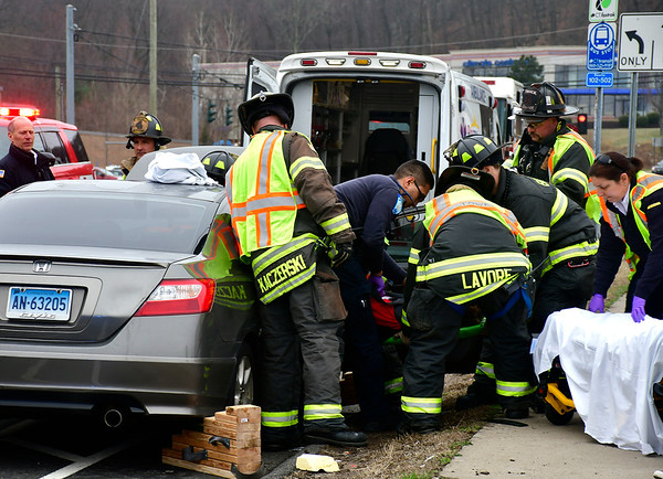 4/9/2019 Mike Orazzi   Staff One person was taken to the hospital on Tuesday after being extricated from a vehicle involved in a car accident. The man was a passenger in a Honda Civic that was involved in a collision with a Dodge Dakota pickup truck shortly after noon, at the intersection of Pine and Mitchell streets.
