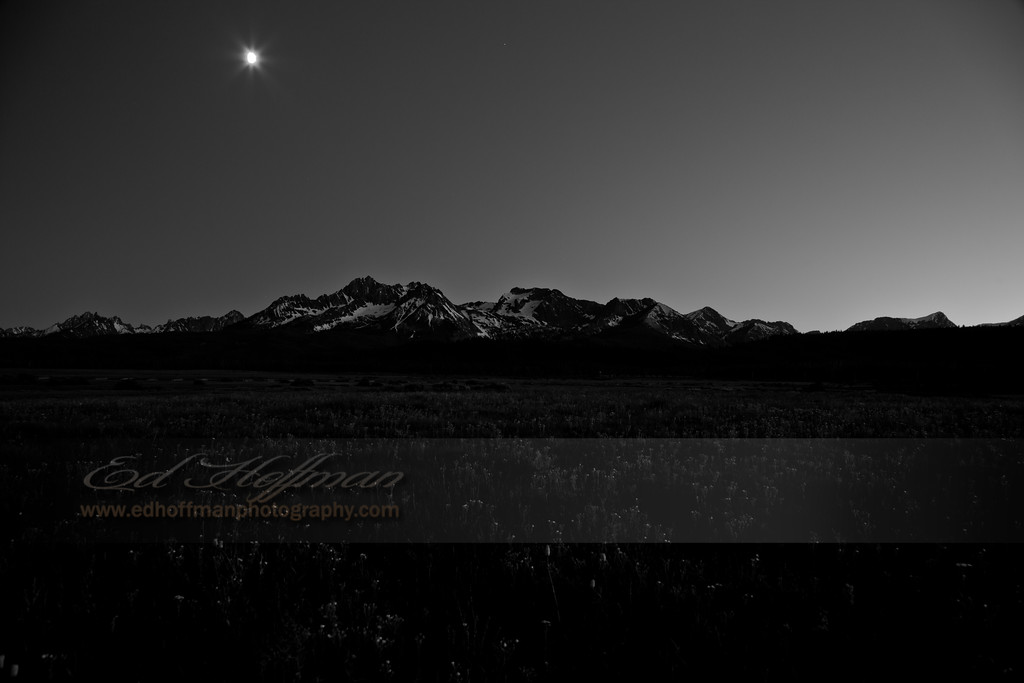IMG_2989,Moon over Stanlet,Idaho Idaho,Black and White Fine Art.