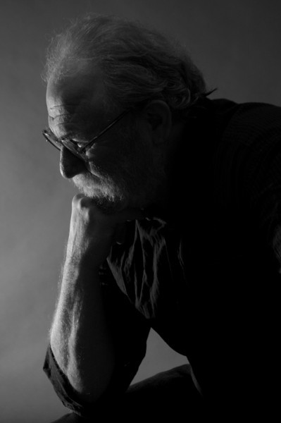 Headshot portrait silhouette of man's profile