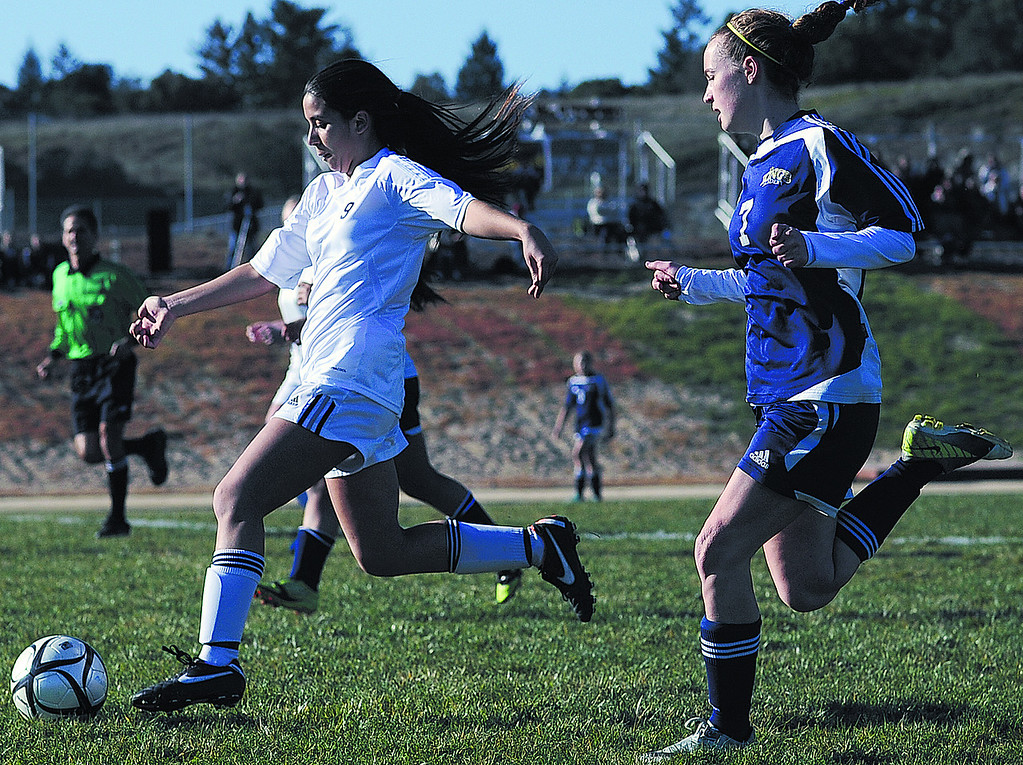 . Scotts Valley High\'s Marissa Sion winds up for a shot during the first half of a first-round Central Coast Section Division III girls soccer game on Feb. 20, 2013. The King\'s Academy won 1-0. (Matthew Hintz/Sentinel).
