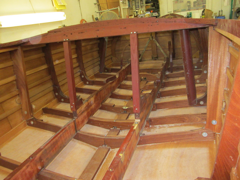 Inside view of new framing, bottom and sides looking towards the transom.