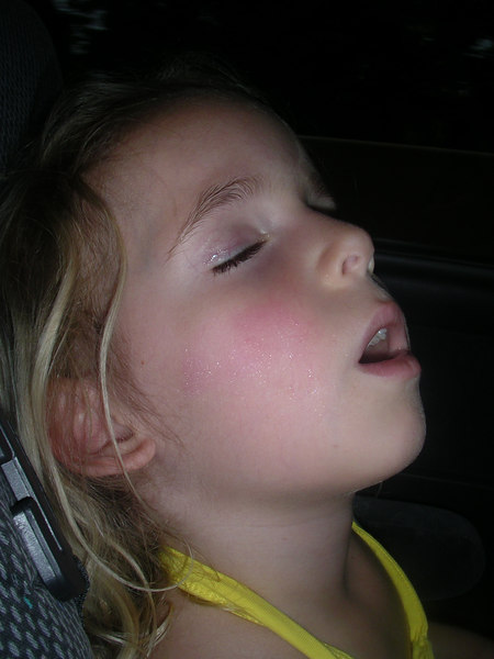 Violet fell asleep in the car, and I took a picture of her beautiful makeup that she had put on earlier. Look at her shimmery eyes and cheeks!