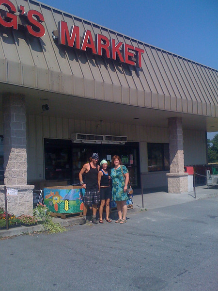 Hikers in front of PA market