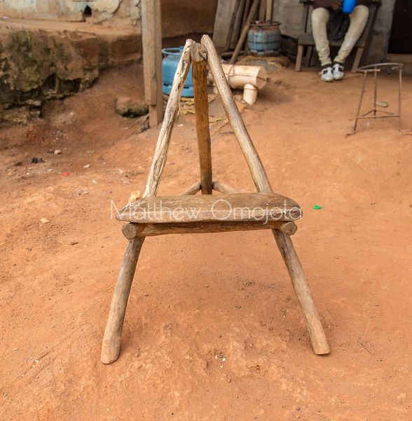 A traditional chair, Cultural artifact,  seen in Yamoussoukro Ivory Coast Cote d'Ivoire
