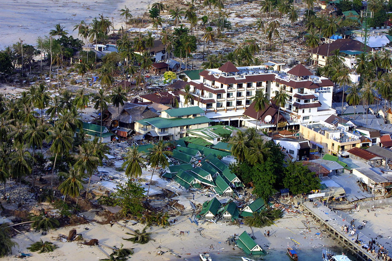 . An aerial view from a helicopter shows Phi Phi hotel and its surrounding area on the devastated Phi Phi island, in southern Thailand on December 28, 2004. Over 1,430 people were killed, among them more than 700 foreign tourists, in southern Thailand, according to the interior ministry.  ROSLAN RAHMAN/AFP/Getty Images