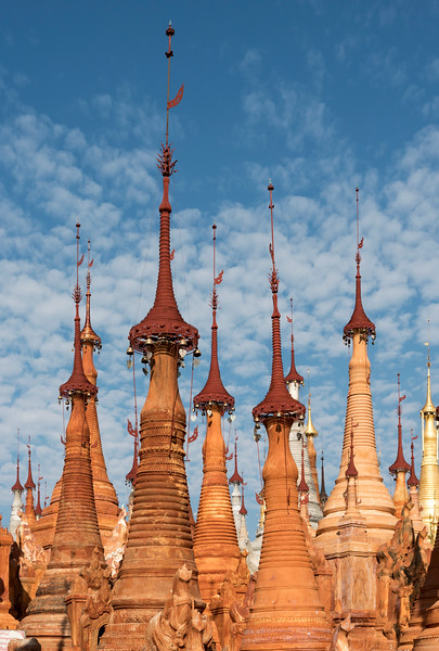 Close-up of pointy Buddhist stupas of Shwe Inn Thein Pagoda, Inthein (Indein), Burma (Myanmar)