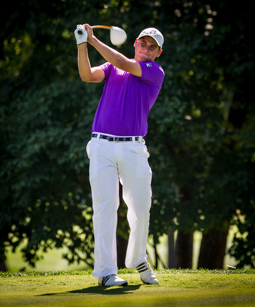 Bennett Lavin of Deerfield IL tees off on 16 during second round medal play at the 2012 Western Amateur Championship at Exmoor Country Club in Highland Park IL. on Wednesday, August 1, 2012. (WGA Photo/Charles Cherney)