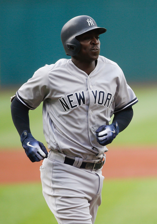 . New York Yankees\' Didi Gregorius rounds the bases after hitting a three run home run off Cleveland Indians starting pitcher Mike Clevinger during the first inning of a baseball game, Saturday, July 14, 2018, in Cleveland. (AP Photo/Ron Schwane)