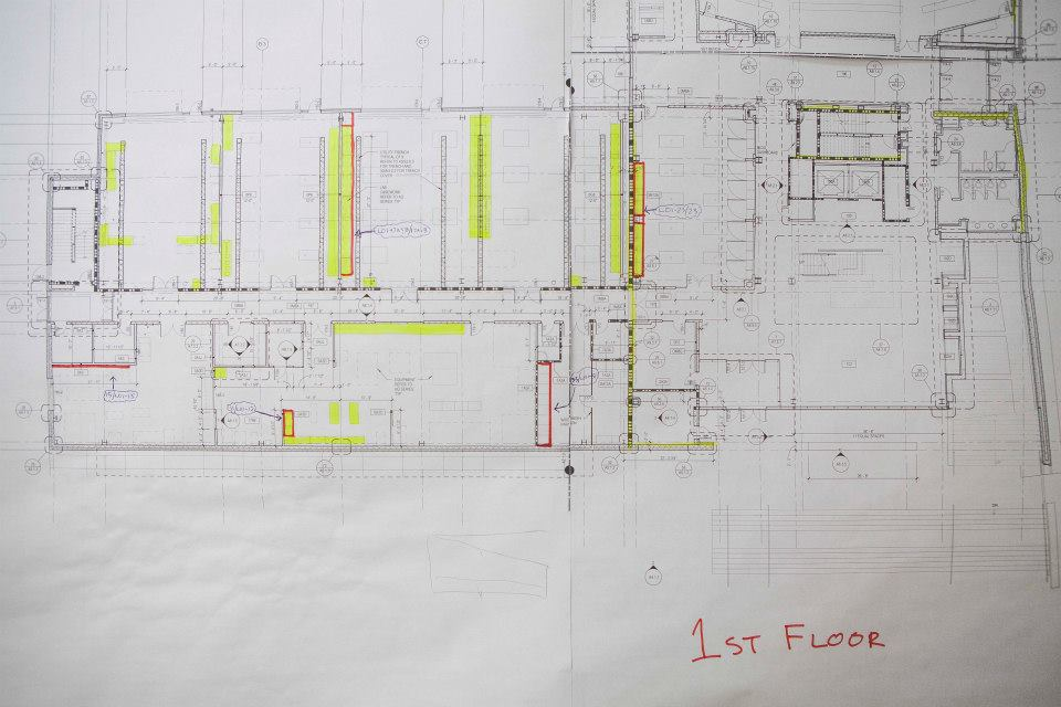 . Schematics of the first floor of the new engineering building.  (Photo by Jason Willis/Oakland University)