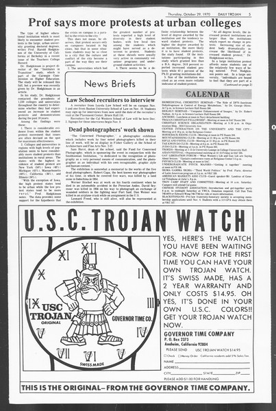 Daily Trojan, Vol. 62, No. 27, October 29, 1970