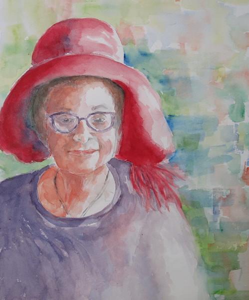 Myra in a Red Hat.JPG