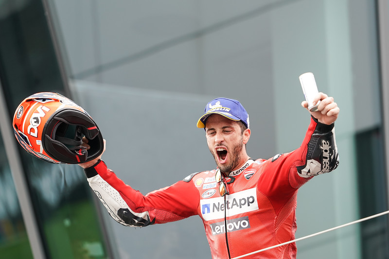 Andrea Dovizioso on the podium at the 2019 round of MotoGP at Spielberg, Austria - Photo Cormac Ryan Meenan