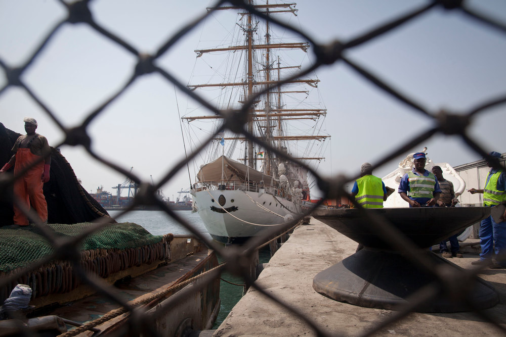 Description of . Argentina's three-masted navy training tall ship ARA Libertad, which was seized on Oct. 2 as collateral for unpaid bonds dating from Argentina's economic crisis a decade ago, sits docked at the port in Tema, outside Accra, in Ghana Friday, Dec. 14, 2012. A U.N. court is expected on Saturday to deliver its order on whether the Argentine navy ship being held at the Ghanaian port should be released. (AP Photo/Gabriela Barnuevo)