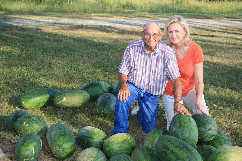 Debbie and her Dad with his watermelons