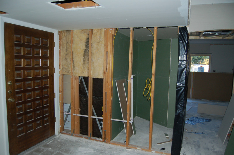 A good look at the wine cellar, with the kitchen beyond.