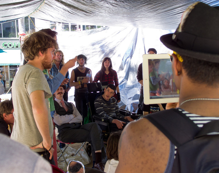 An ipad being used to record the events at the main tent.