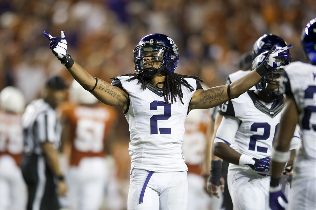 . <p><b>28. Carolina: Jason Verrett, CB, TCU. </b> <p>The Panthers can raise the average height in their secondary after the departure of 5-foot-8 Captain Munnerlyn to the Vikings. Verrett is 5-9.  (Cooper Neill/Getty Images)