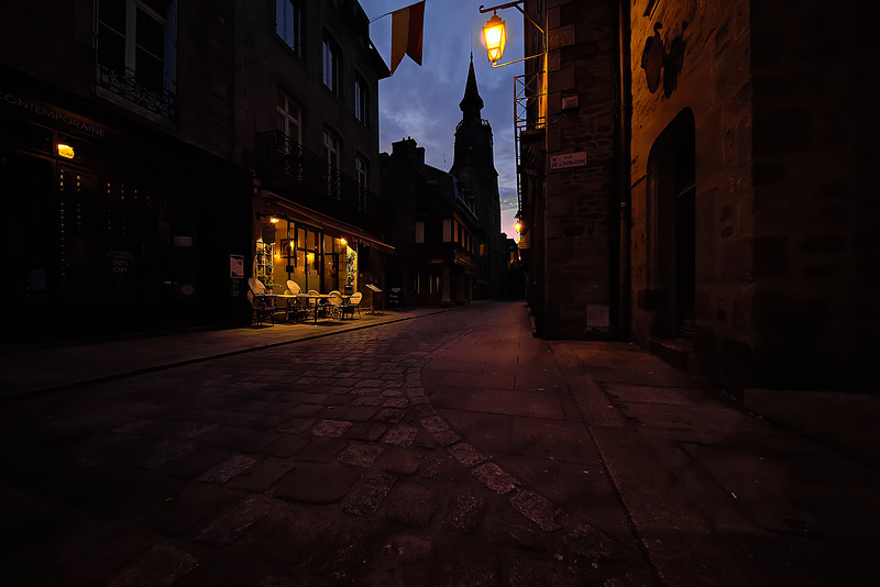 Clock tower street Dinan, FR.jpg