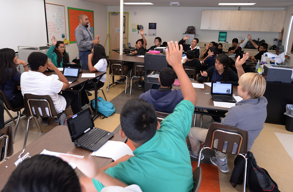 . New Environmental Charter Middle School in Gardena is located on the property of a former church. It serves about 360 students. Science class at ECMS. Photos by Brad Graverson 5-22-13