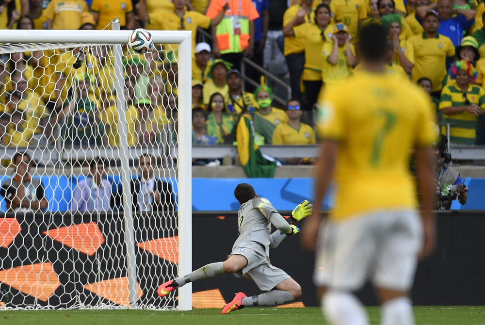 . Brazil\'s goalkeeper Julio Cesar (back) looks at the ball as it hits the bar during the round of 16 football match between Brazil and Chile at The Mineirao Stadium in Belo Horizonte during the 2014 FIFA World Cup on June 28, 2014. (FABRICE COFFRINI/AFP/Getty Images)