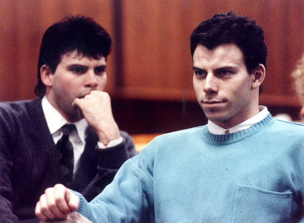 . Lyle Menendez, left, and his brother Erik sit in Beverly Hills Municipal Court  on April 2, 1991.  On August 20, 1989, Lyle and Erik Menendez murdered their parents, Jose and Kitty, in the den of the family\'s home in Beverly Hills, CA. (Los Angeles Daily News file photo)