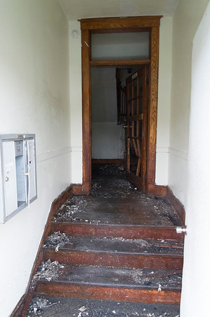 06/25/19 Wesley Bunnell | Staff A fire broke out at a three floor residence at 39 South Whiting St in New Britain on Monday June 24, 2019 at approximately 8pm with firefighters on the scene until approximately 4am Tuesday morning. The front entranceway is shown.