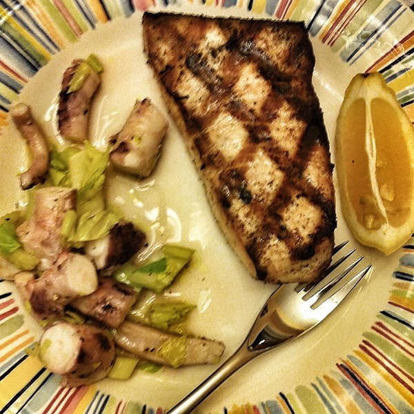 On the table tonite: grilled swordfish with octopus and celery salad #food #foodie #jux