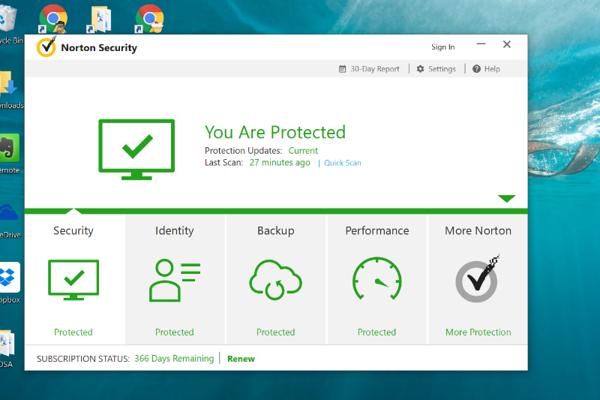 Norton Security Premium Dashboard