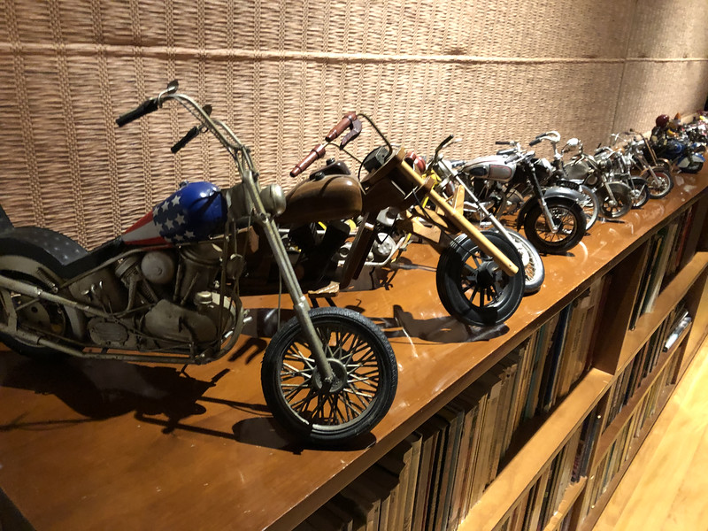 model size motorcycles at Moacir's apartment
