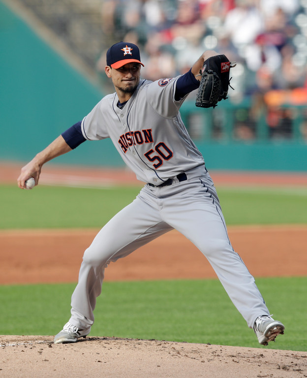 . Houston Astros starting pitcher Charlie Morton delivers in the first inning of a baseball game against the Cleveland Indians, Thursday, May 24, 2018, in Cleveland. (AP Photo/Tony Dejak)