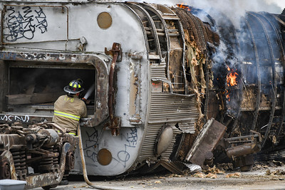 Train car fire at former General Tire (06/23/21)
