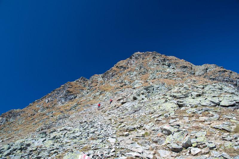 Blick zurück von der Abstiegsspur