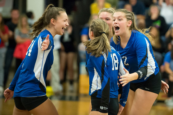 10/08/19 Wesley Bunnell | StaffrrBristol Eastern girls volleyball hosted Bristol Central on Tuesday night. BE's Sage Scarritt (24), Leah Chipman (18) and Hannah Webber (22) celebrate a point.