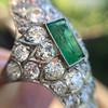 3.50ctw Art Deco Emerald and Old European Cut Diamond Dinner Ring 13
